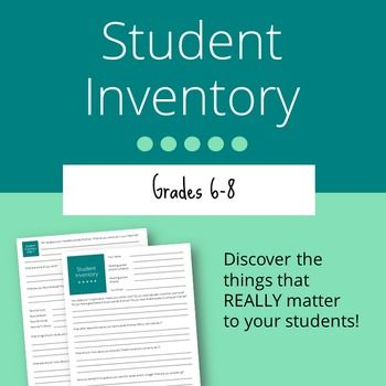 Student Inventory: Grades 6-8. Get to know your students -- what really matters -- with this fantastic 2-page questionnaire.