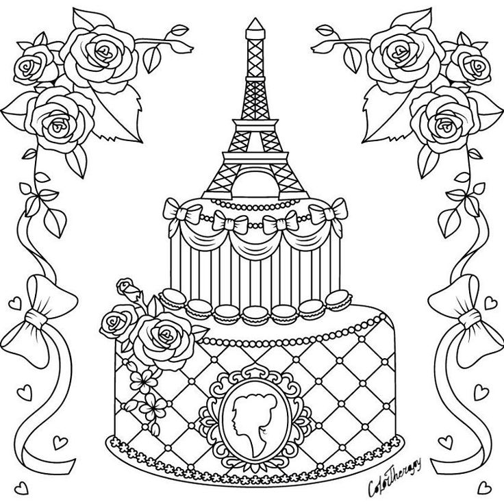 cake coloring pages for adults   78 best Cupcakes + Cakes Coloring Pages for Adults images ...