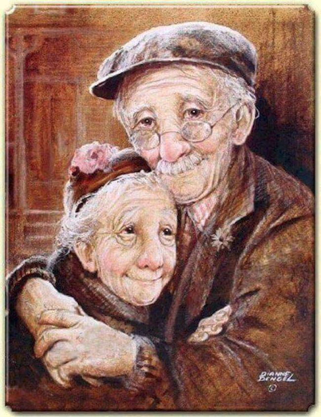Samen in liefde oud worden, een serie prachtige illustraties!