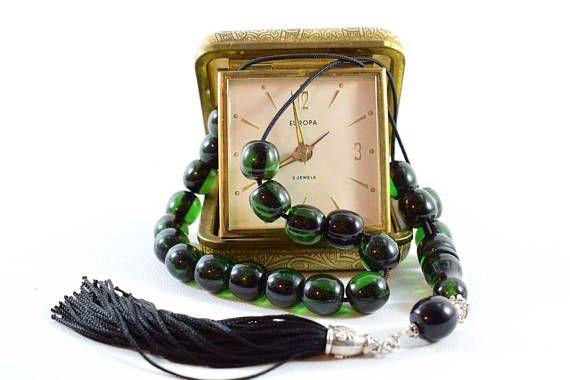 Emerald color Komboloi Bakelite Beads Handmade Tassel Worry