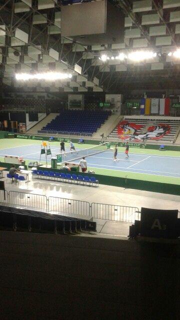 Davis Cup Szczecin Poland vs Ukraine. Training session.