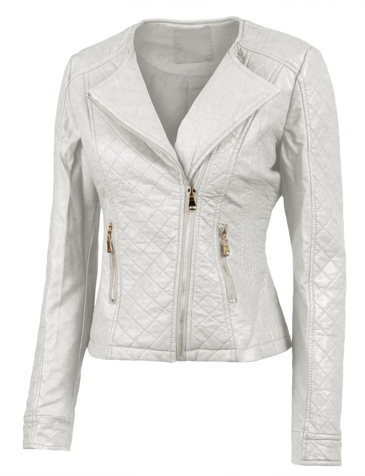 Le3no Womens Stitched Faux Leather Zip Up Moto Jacket With
