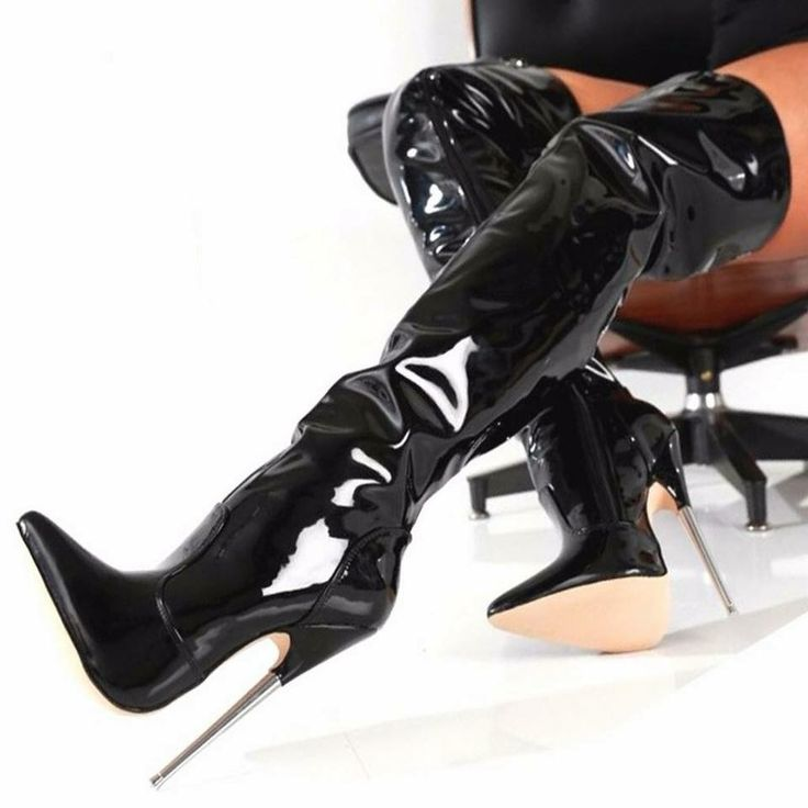Women High Heel Sexy Over The Knee Patent Leather Thigh High Boots Clubwear Shoe