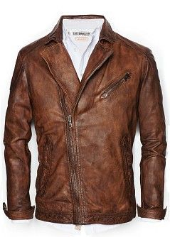H.E.BY MANGO - NEW - Vintage leather biker jacket
