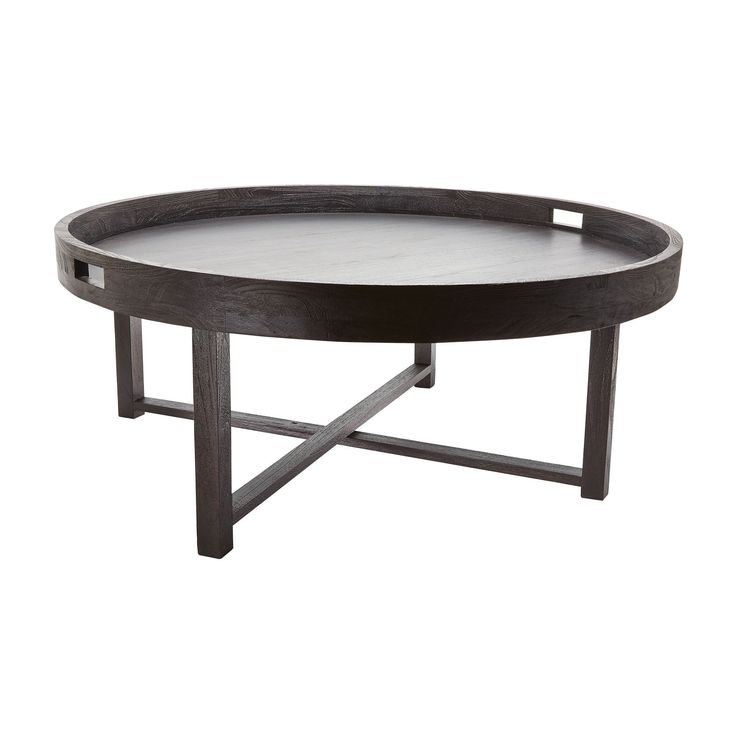 Crafted From High Quality Teak, The Gorgeous Round Black Teak Coffee Table  Tray Adds
