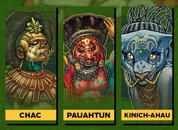 CHAC Era o deus da chuva ue era suas lágrimas caindo na terra deus da agricultura era adorado como quatro entidades cada uma representa um dos pontos cardeais. PAUAHTUN Era o deus dos céus e sustentava o firmamento tinha fama de bêbado e instável, ligado aos ventos e ao trovão. Era retratado com uma concha ou um casco de tartaruga(céu) KINICH-AHAU Um dos deuses do Sol de dia, era um pássaro de fogo à noite, andava no submundo dos mortos Xibalba como um jaguar era um dos governadores de…