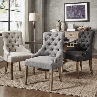 Habit Solid Wood Tufted Parsons Dining Chair Set Of 2 Grey Brown Fabric