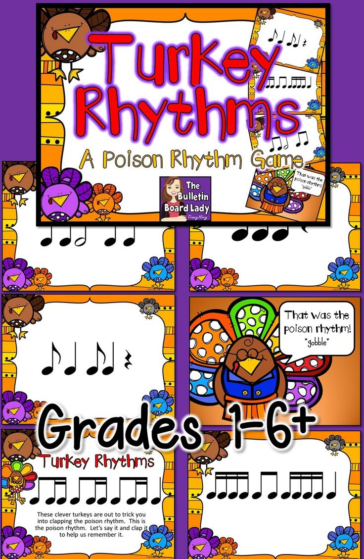 This is a poison rhythm game that works great around Thanksgiving.  With 5 different levels and 8 different games, you can use this with many classes in your music room.  FUN!
