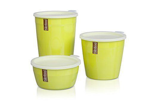 [3 Pack] récipients pour aliments / conteneurs de stockage - ensemble de boîtes à couvercle / boîtes de conservation de plastique mélamine par Pure Bamboo - Boîte à lunch verte - lavable en machine