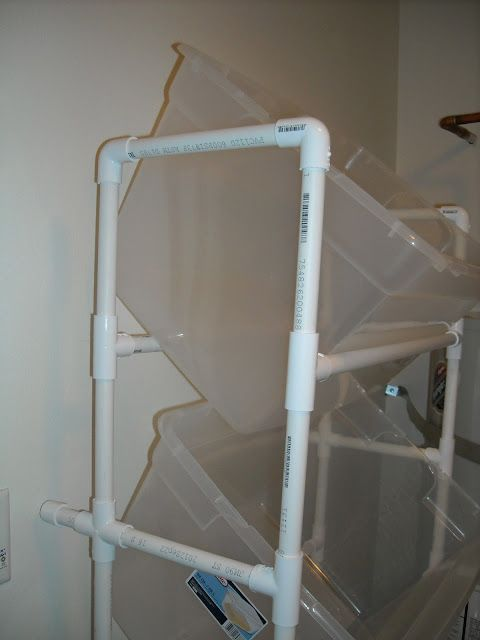 Vertical PVC Laundry Sorter TOTAL COST for PVC $20 & guy @ Home Depot did all the cutting for me!
