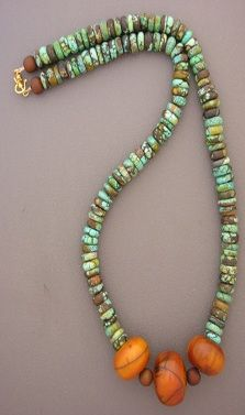 Necklace | Anna Holland. Vintage African 'Amber' beads have been combined with slices of turquoise.