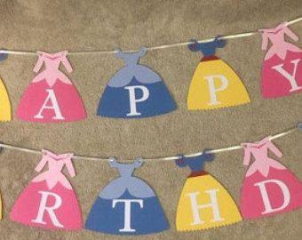 Banner de cumpleaños de princesa Disney por LittleRedBanner en Etsy