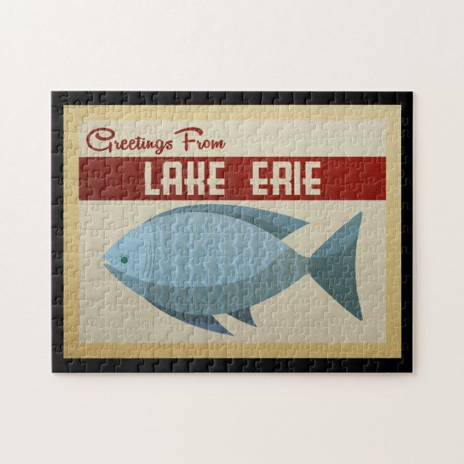 Lake Erie Blue Fish Vintage Travel Jigsaw Puzzle Zazzle Com In 2020 Custom Puzzle Fly Fishing Art Vintage Travel