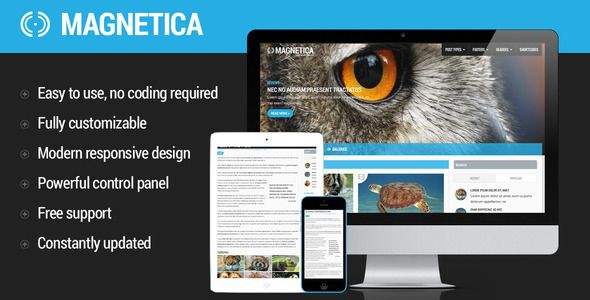 Magnetica | WordPress Magazine and Blog Theme   http://themeforest.net/item/magnetica-wordpress-magazine-and-blog-theme/7010402?ref=damiamio      Features  	   	   	   	Full Feature Set  	 General Features  	 	 Four state responsive design 		 Functional retina support 		 Beautiful Home page slider 		 More than 25 post display combinations 		 5 Built In widgets 		 4 header styles 		 2 Footer styles  		 Multi language support. Spanish file included. 		 Automatic image resizing 		 Video, sound…