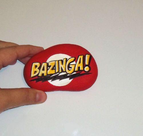 OOAK Original Hand Painted Rock Art Stone Bazinga Big Bang Theory Paperweight   eBay