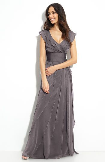 """Adrianna Papell Tiered Chiffon Gown   Nordstrom """"Smoke"""""""