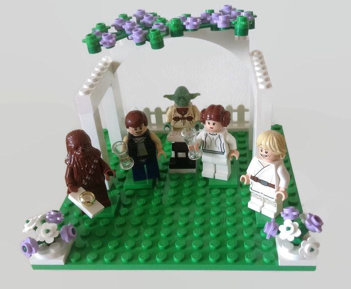 Lego Star Wars Wedding Cake Topper Han Solo Princess Leia Bride and Groom Minifigures with Chewbacca and Luke Skywalker *Customised* by HeartOfBricks on Etsy https://www.etsy.com/listing/235263715/lego-star-wars-wedding-cake-topper-han