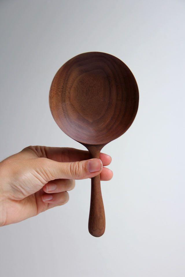 short handled walnut serving spoon :  Ariele