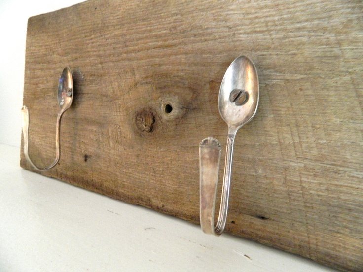Coat Rack made out of Repurposed Barn Wood and silver spoons