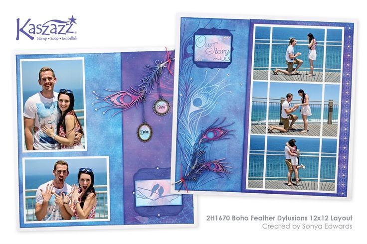 2H1670 Boho Feather Dylusions 12x12 Layout
