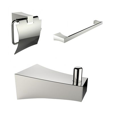 American Imaginations AI-13508 Single Rod Towel Rack with Robe Hook and Toilet Paper Holder Accessory Set