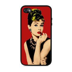 Audrey Hepburn Red Background actress Iphone 4 / 4s Cases
