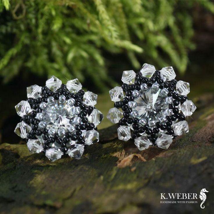 Short, beaded crystal earrings. http://arsneo.pl/tworcy/kathrinweber.html