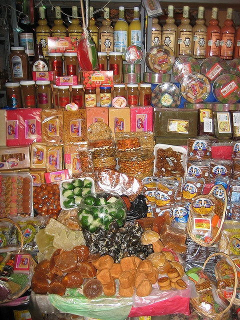 """This is a stand, of many, in a building known as the """"Mercado de Dulces"""" of candy market. Its located in downtown."""