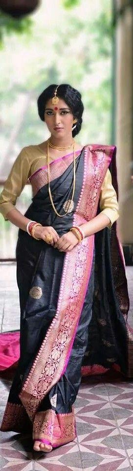 Tussar Silk draped in the traditional Bengali way via @monami_india