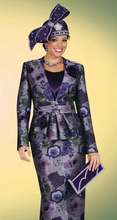 BenMarc Purple Print Womens Church Suit 4419