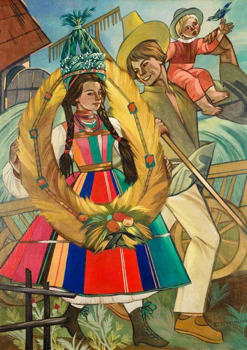 "Zofia Stryjeńska (Polish, 1891-1976): ""Dożynki"" (Slavic harvest festival), mixed media on canvas, c1930s."