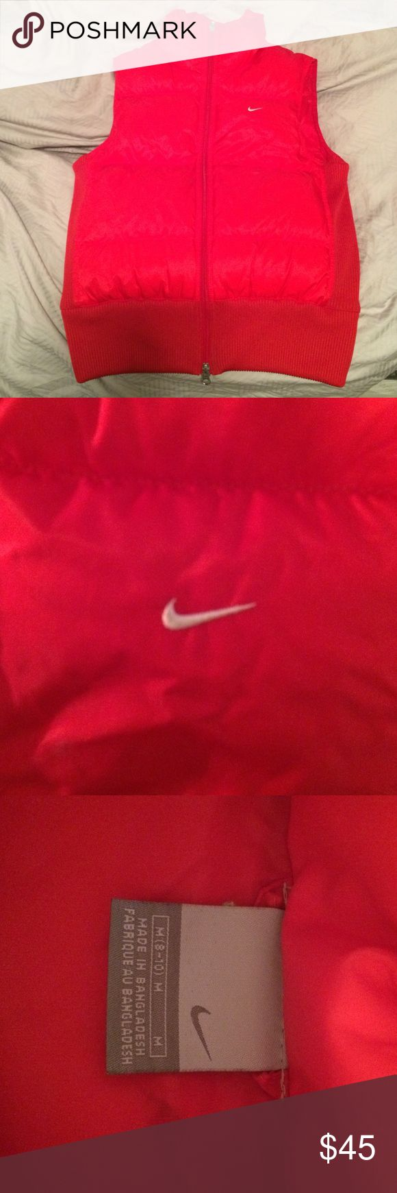 Nike Puffer Vest Red Nike Puffer Vest. Excellent Condition. Although it's in a junior size I'm a petite woman and this fits me perfect and I have a larger chest size so it fits like a womens xs/s Nike vest. Nike Jackets & Coats Puffers