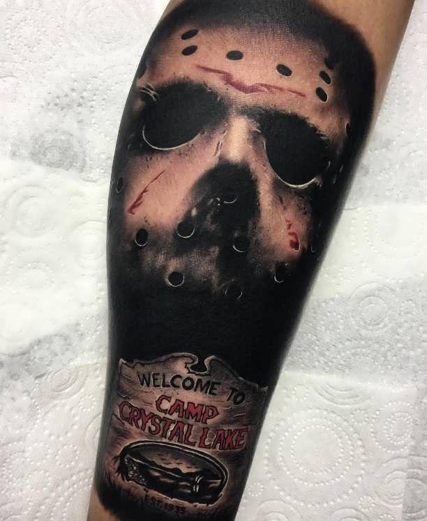 Tattoo Jason mask with Scripture  - http://tattootodesign.com/tattoo-jason-mask-with-scripture/     #Tattoo, #Tattooed, #Tattoos
