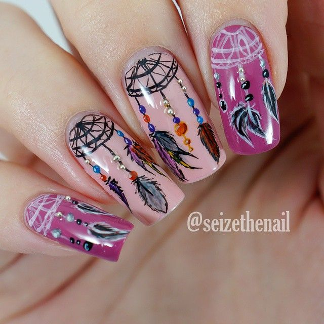 Ammmaazing dreamcatcher #nailart ===== Check out my Etsy store for some nail art supplies https://www.etsy.com/shop/LaPalomaBoutique