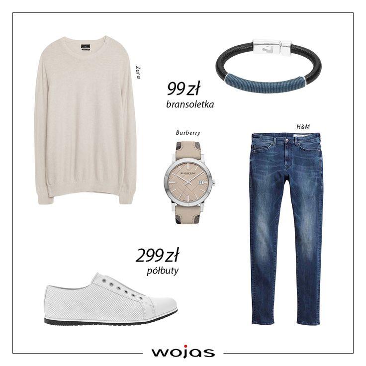 Podstawą casualowej stylizacji są wygodne buty! Białe półbuty Wojas (https://wojas.pl/produkt/23911/polbuty-meskie--6029-59 ) idealnie komponują się z beżowym swetrem i klasycznymi jeansami. Uzupełnieniem zestawu jest zegarek oraz bransoletka Wojas (https://wojas.pl/produkt/17449/bransoletka-4322-56).