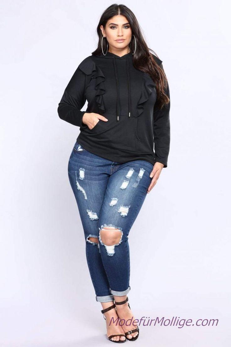 Zerrissene Jeans schwarz Langarm T-Shirt Mode Für…