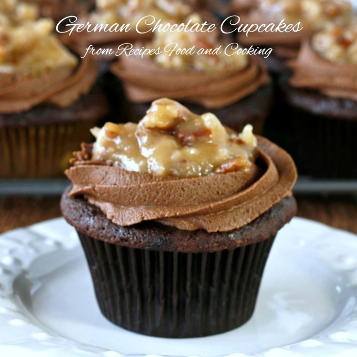 German Chocolate Cupcakes - The best chocolate cupcake I've ever made. I frosted them with my Easy Chocolate Buttercream and my mom's German Chocolate Frosting.