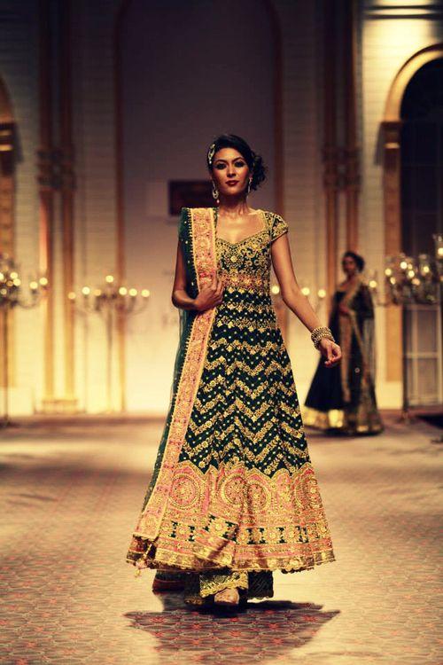 Green Anarkali for an Engagement