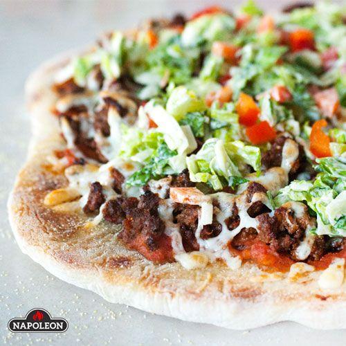 Tasty Taco Pizza On the Napoleon Pizza Stone #pizza #bbq #napoleongrill #gameday
