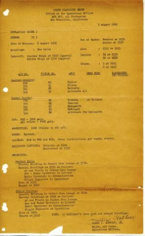 This image provided by the Museum of World War II Boston shows the operations order for Hiroshima, dated Aug. 5, 1945. According to the museum, this operations order was carried on the Enola Gay in the flight log of Jacob Beser, the radar and electronics specialist. The original copy of the operations order for dropping an atomic bomb on Hiroshima is on display at the private museum in the Boston suburbs as the deadly attack marks its 70th anniversary. (Museum of World War II Boston via AP)
