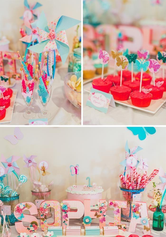 fiesta de cumpleaos inspirada en flores y mariposas ideas para decoracion infantiles
