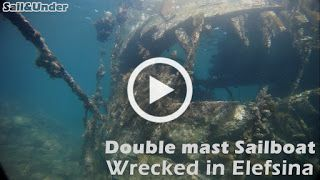 Sail And Under Adventures: Wooden double mast sailboat Wrecked in Elefsina - Sail and Under Adventures