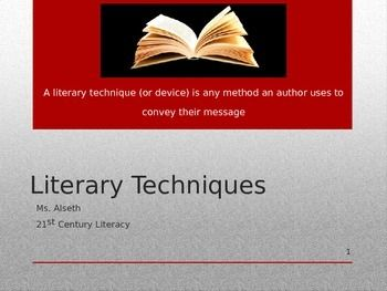 PowerPoint Presentation teaching 8 literary techniques (devices): flashback, foreshadowing, symbolism, suspense, cliffhanger, irony, tone and mood, allusion.  Each slide includes a definition of term and Pixar/Disney movie clip(s) example.    Purchase also includes 2 foldable interactive notebook organizers.
