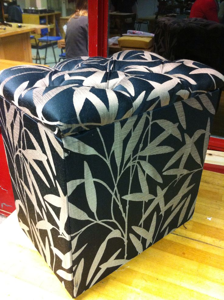Re-Upholstered Mini Ottoman: First Upholstery Project