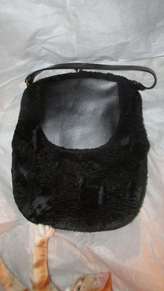 6f97eab61936 Vintage Mel Ton Black Handbag Faux Fur Large Pouch Vintage Purse Kiss Clasp  Metal Frame Shoulder Bag Mid Century Handbag 1950s 50s Very …