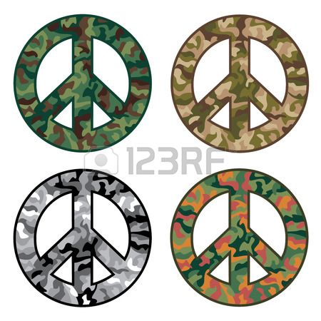 Collection of four camouflage patterns inside peace symbols  Stock Vector