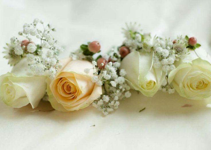 Wedding buttonholes. #weddingflowers #peachroses #whiteroses