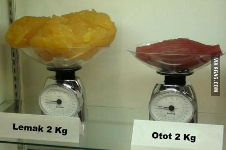 2kg of fat (left) compared to 2kg of muscle (right)... Now you know.