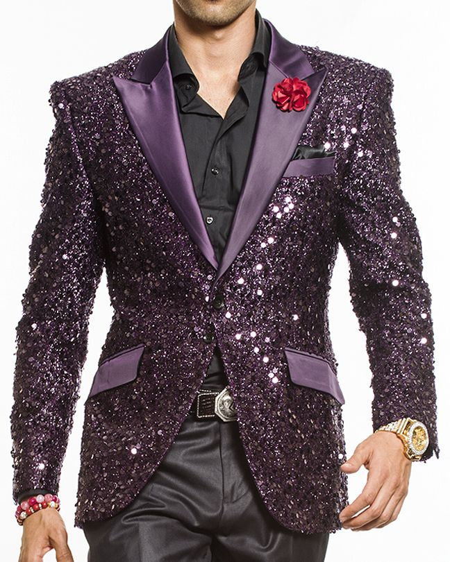 Angelino Fashion Blazer. Red sequins embroidery blazer with black satin peak lapel and flap pockets. Great outfit for night scene, wedding, party, and any events.