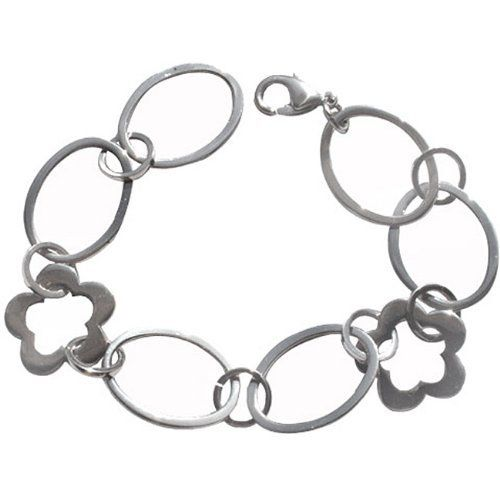 Stainless Steel Flower and Oval Link Bracelet TrendBox Jewelry. $22.99. Gold overlay. Feminine bracelet features stainless steel links alternating between adorable flower links. Fashionable jewelry for women with all of the durable strength of stainless steel. Bracelet measures 7.5 inches long x 22 mm width. Closes with lobster claw clasp. Save 47%!